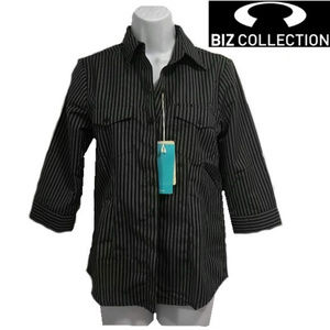 Biz Collection Striped Button Up Blouse